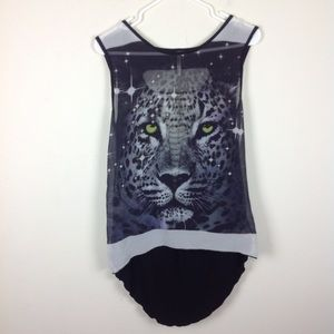 Cheetah Hi Low Semi Sheer Top With Back Slits M